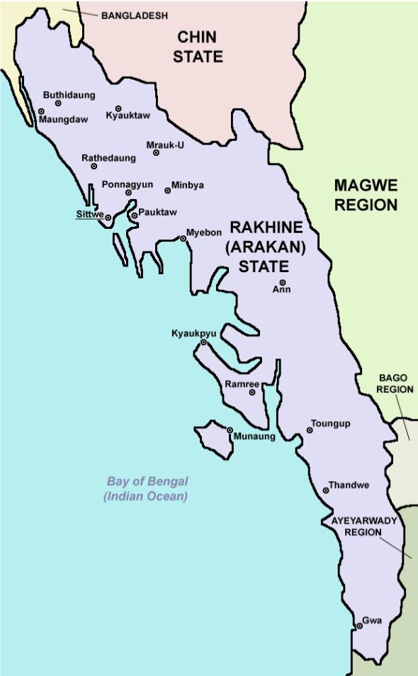 Rakhine (Arakan) State in Myanmar