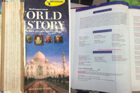 Worn history textbook from 1998 (source: Public Counsel).