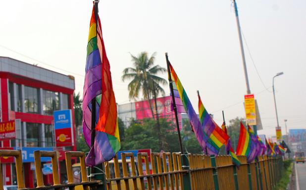 Rainbow flags in Alvula, India. Kandukuru Nagarjun. CC 2.0