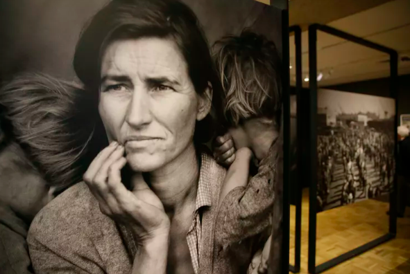 The iconic photograph 'Migrant Mother' by Dorothea Lange, on display at the Oakland Museum of California. AP Photo/Eric Risberg