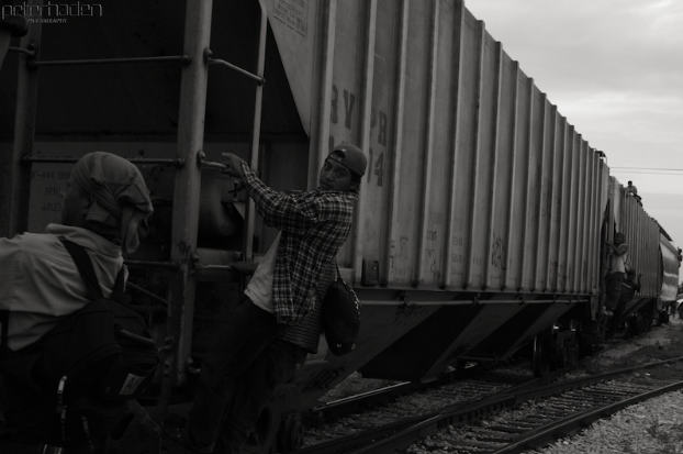 Migrants riding outside a freight train in New Mexico. Peter Haden. CC 2.0