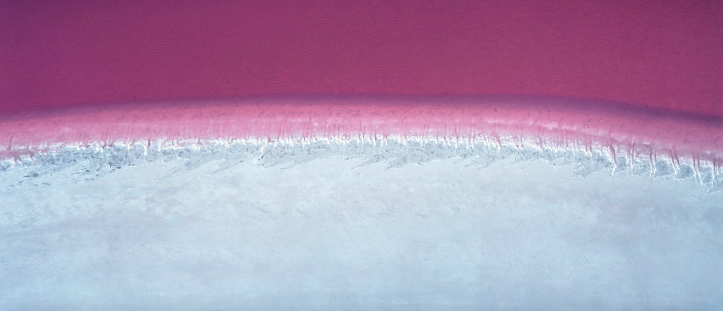 Pink Lake, north-west of Esperance, Western Australia. This is the natural colouration of the salt lake. (Taken 1988)