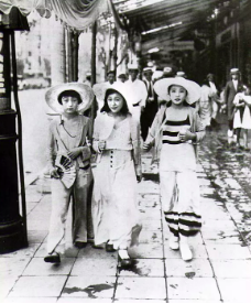 'Modern girls' ('moga') stroll along the Ginza, Japan's Fifth Avenue, in 1928.  Wikimedia Commons