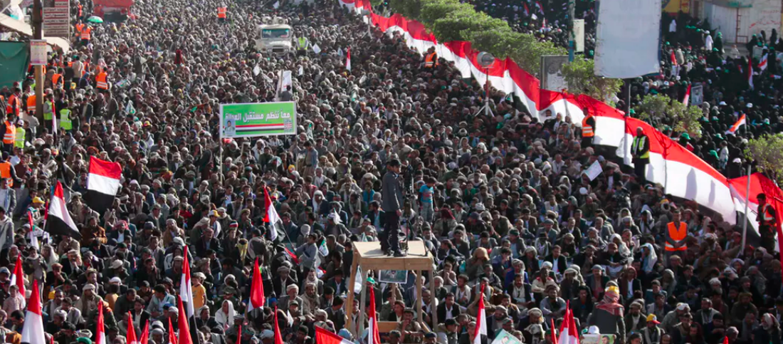 Supporters of Shiite Houthi rebels attend a rally in Sanaa, Yemen, in 2017.  AP Photo/Hani Mohammed, File