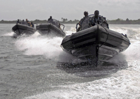 Some experts believe that a joint effort between the world's navies can effectively combat piracy in the Gulf of Guinea. Petty Officer 1st Class Darryl Wood, U.S. Navy -  www.defense.gov . Public Domain.
