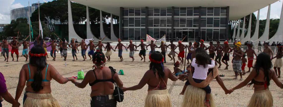 Munduruku tribal people are demanding that Brazil's government respect their land rights. AP Photo/Eraldo Peres