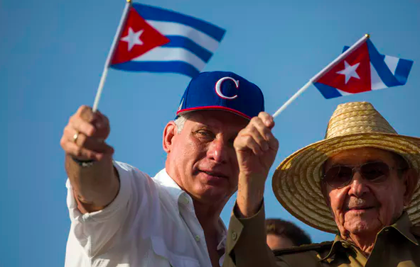 Cuban President Miguel Diaz-Canel with former President Raúl Castro, brother of Fidel Castro.  AP Photo/Desmond Boylan