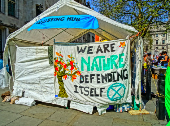 Tent set up in Parliament Square. DAVID HOLT. CC BY 2.0