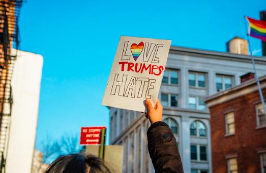 Protesting the Trump administration's anti-LGBTQ+ policies. mathiaswasik. CC BY-SA 2.0