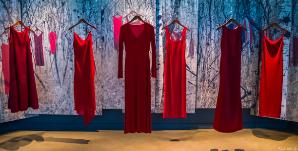 The REDress Project, on display in Winnipeg, serves as a reminder of missing and murdered Indigenous women. Ted McGrath. CC BY-NC-SA 2.0