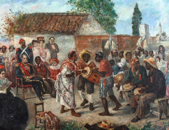 Painting depicting Argentine army officer General Juan Manuel de Rosas in a candombe, a Uruguayan music and dance that comes from African slaves. Martín Boneo. Wikimedia Commons / Public Domain