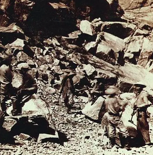 Chinese railroad workers in California's Sierra Nevada mountains, photographed between 1865 and 1869.  Alfred Hart/Library of Congress