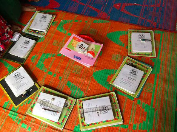 English-language exercise books at a UNICEF-supported 'learning center' at one of the Kutupalong refugee camps in Bangladesh. Rubayat Jesmin, Author provided
