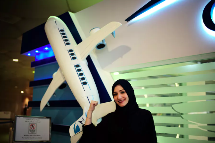 Dalia Yashar, one of the first Saudi female students in training to become commercial pilot, pictured on July 15, 2018. Her future passengers will include solo women travelers, too.  Reuters/Hamad I Mohammed