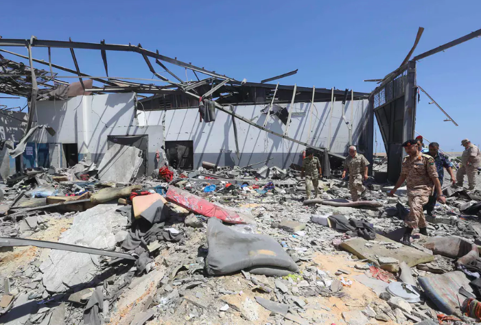 Death in detention: the aftermath of an airstrike on the Tajoura camp in Tripoli in July 2019. EPA