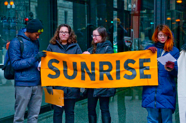 Members of the Sunrise Movement rallying in Chicago. Charles Edward Miller. CC BY-SA 2.0