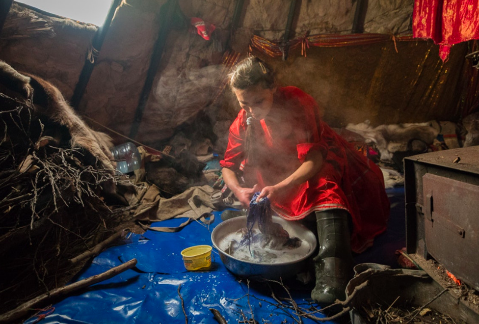 At the heart of the Nenets' chum is the stove. Lena must constantly ensure there is adequate fuel to keep her family warm, and uses the stove for all essential household needs, such as cooking and cleaning.