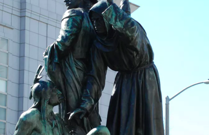 'Early Days.' Detail of Frank Happersberger's pioneer monument, San Francisco, California, 1894. Photo by Lisa Allen. Cynthia Prescott,  CC BY-SA