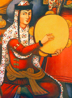 A Persian woman playing the Daf, a frame drum, from a painting on the walls of Chehel-sotoon palace, Isfahan, 17th century. Wikimedia Commons