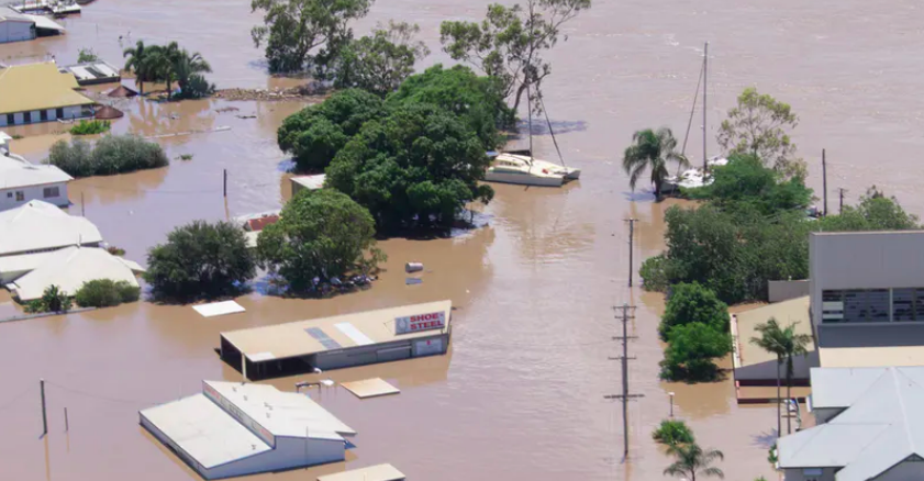 Flood damage in Bundaberg, Queensland, in 2013. Most communities are at some risk from extreme events, but repeated disasters raise the question of relocation.  srv007/Flickr ,  CC BY-NC