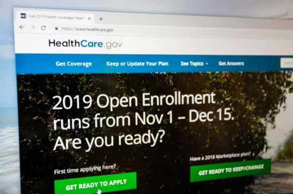 A computer screen promoting this year's open enrollment, which will run 45 days. In years past, open enrollment continued for months.  Ricky Kresslein/Shutterstock.com