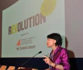 Changhua Wu Speaking before an EV20 Shanghai Media Event.  The Climate Group . CC 2.0