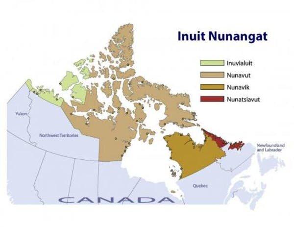 Map of Inuit Nunangat (Inuit Regions of Canada) (Inuit Tapiriit Kanatami)