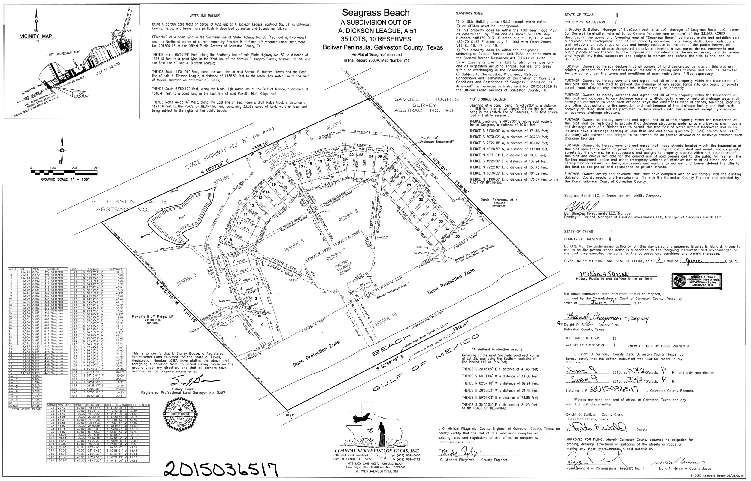 Seagrass Beach Subdivision Plat