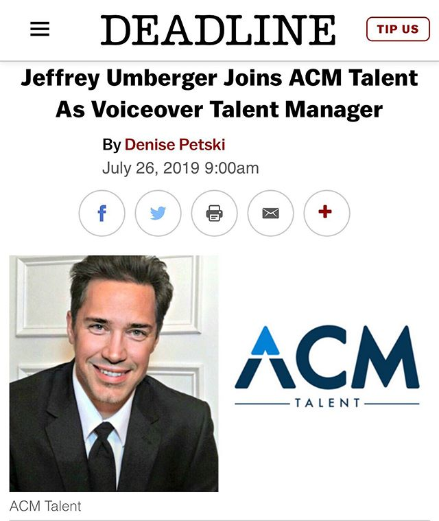 Please join us in welcoming @jeffreyumberger to ACM.  More about Jeffrey: Jeffrey Umberger joins ACM Talent after 15 years of being a dynamic force in the burgeoning Atlanta voiceover community. He began his career as a casting producer in film, television, and advertising. In 2010, Jeffrey opened The Umberger Agency to address the vibrant and diverse needs of Atlanta's creative marketplace. As a result, The Umberger Agency saw tremendous growth throughout the nation and internationally. Jeffrey is proud to be highly regarded as an advocate for performers' rights.  #Voiceover #VoiceoverArtist #Actor #VoiceActor #VO