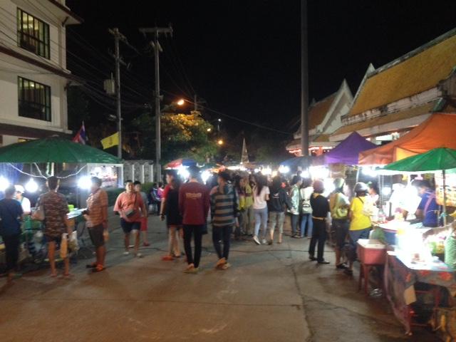 The Nongkhai Saturday night market: we finally made it! Yummy street food.