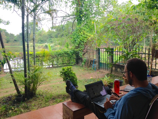 Finally - a moment to breathe! We enjoy internet time with a view of the fish pond at Hands of Hope.