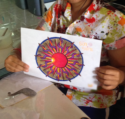 The kids & teens started their month break from school and come earn money for their schooling. They get breaks throughout their day - during which one of the teens colored this mandala beautifully.