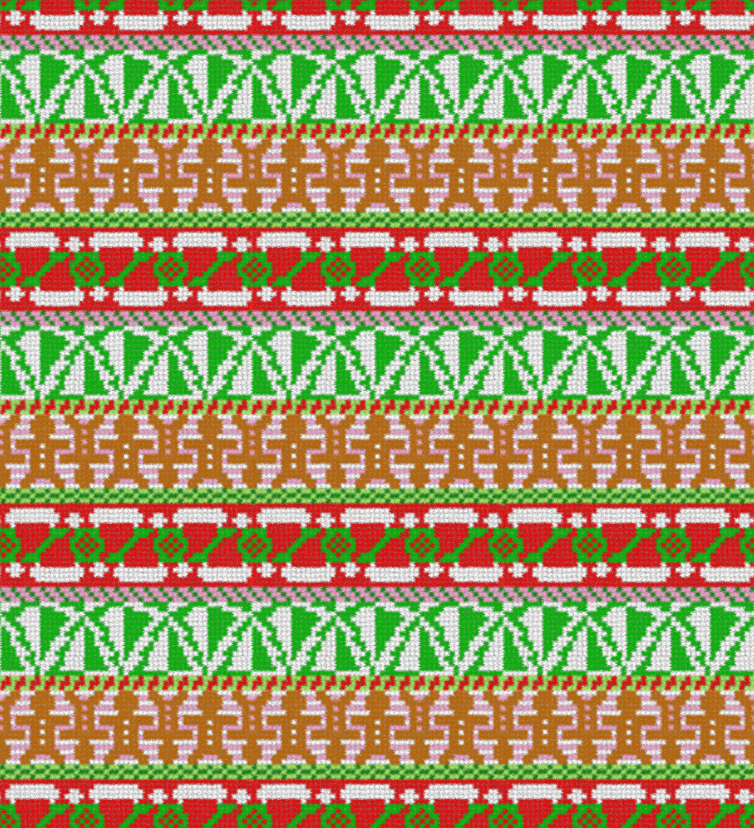 """This was my entry in the Spoonflower Fair Isle competition. Traditional Fair Isle patterns only have two colors per line. I was working with those parameters while trying for a sense of """"thick wool."""""""
