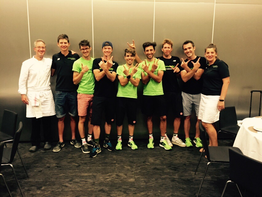 """Our chefs Shaun and Olga, Chiro Charly, and the """"LV"""" finishers on burger night before the final stage."""
