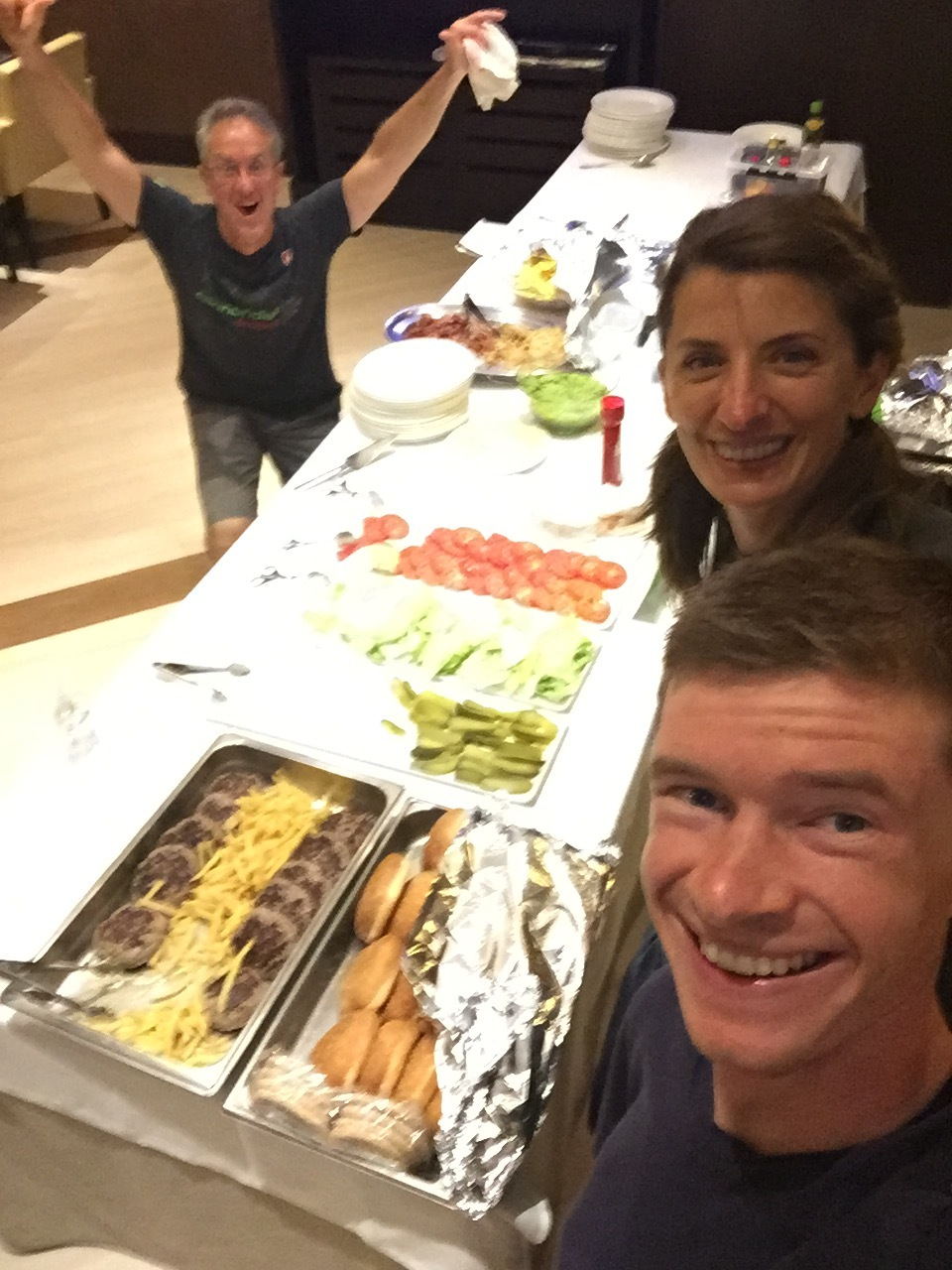 Seriously, nutrition is 80% of recovery, and our chefs Sean and Olga took amazing care of us. Traditional grand tour burger night on the penultimate stage.