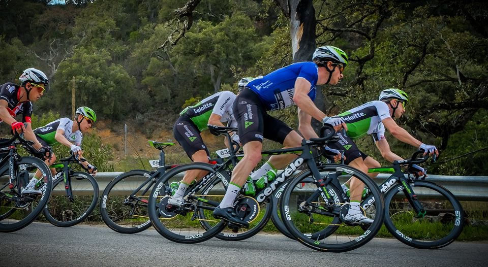 Half of the team was in the breakaway, but the rest of us stuck together in the peloton.