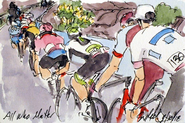 A painting by Greig Leach of me climbing Etna