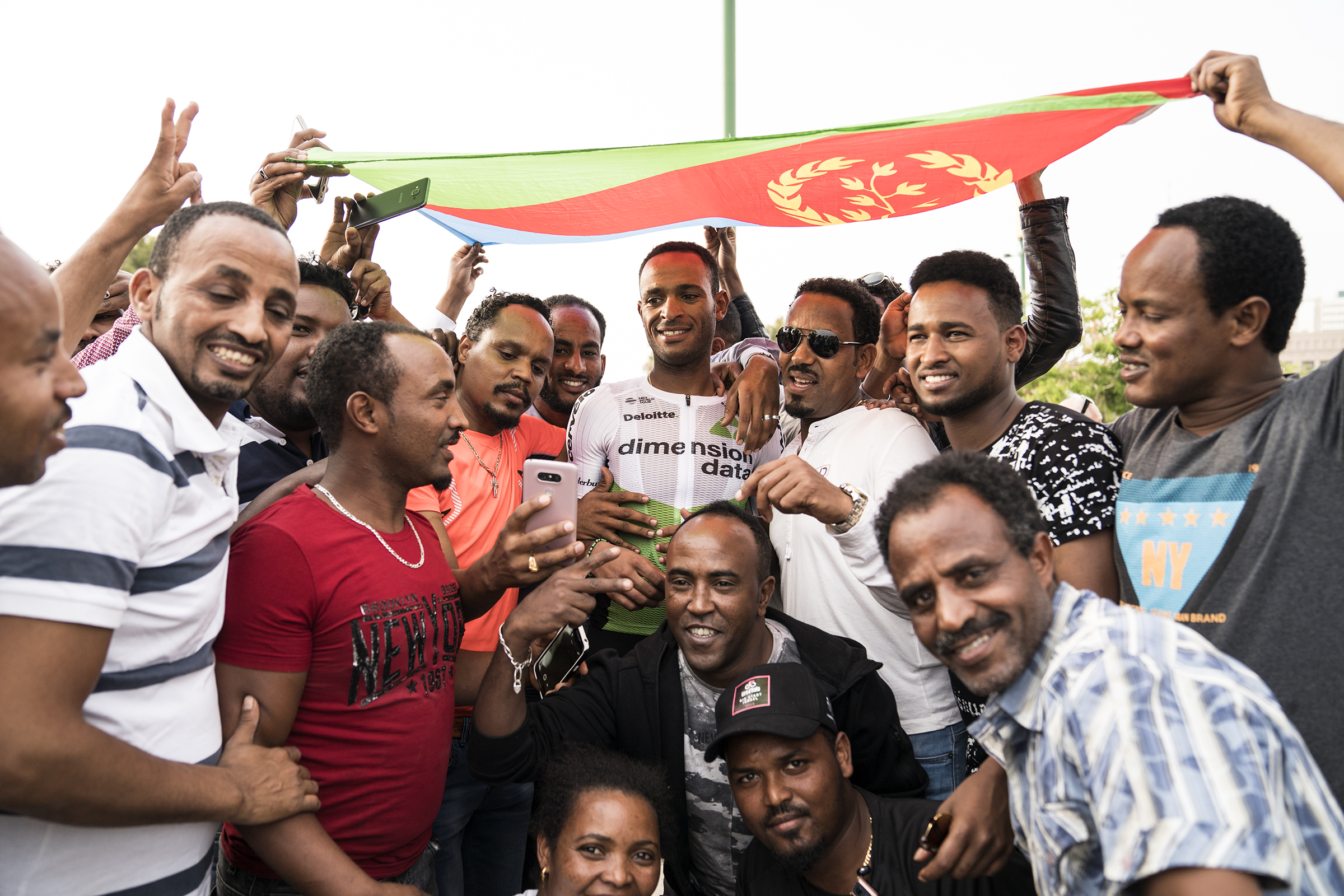 No matter where we go, the Eritreans are there to support their hero, my roommate, Natnael Berhane.