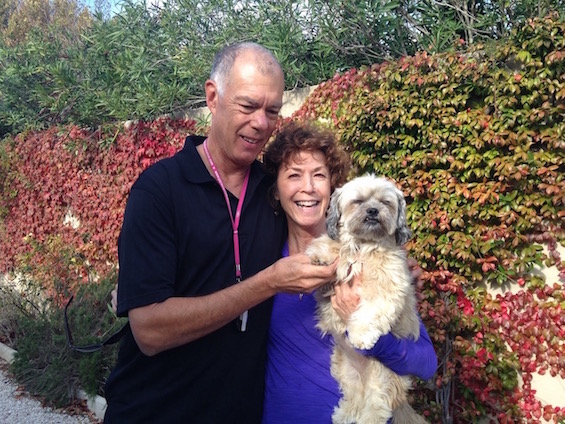 Forrest and Judy in France with the landlady's dog Syrah who visited every day.
