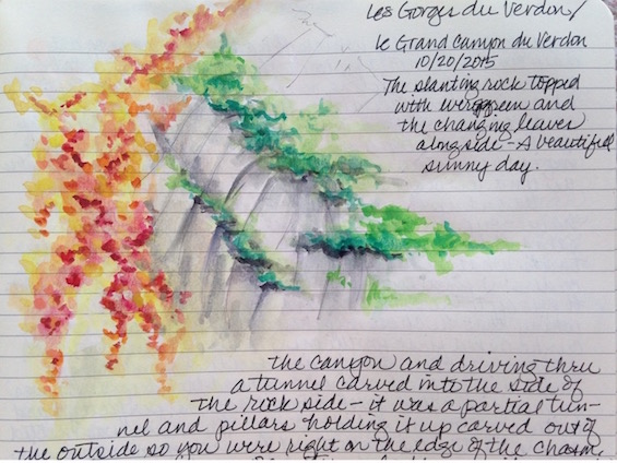 "A quick color sketch of France's equivalent to the US's Grand Canyon: ""Les Gorges du Verdon."""