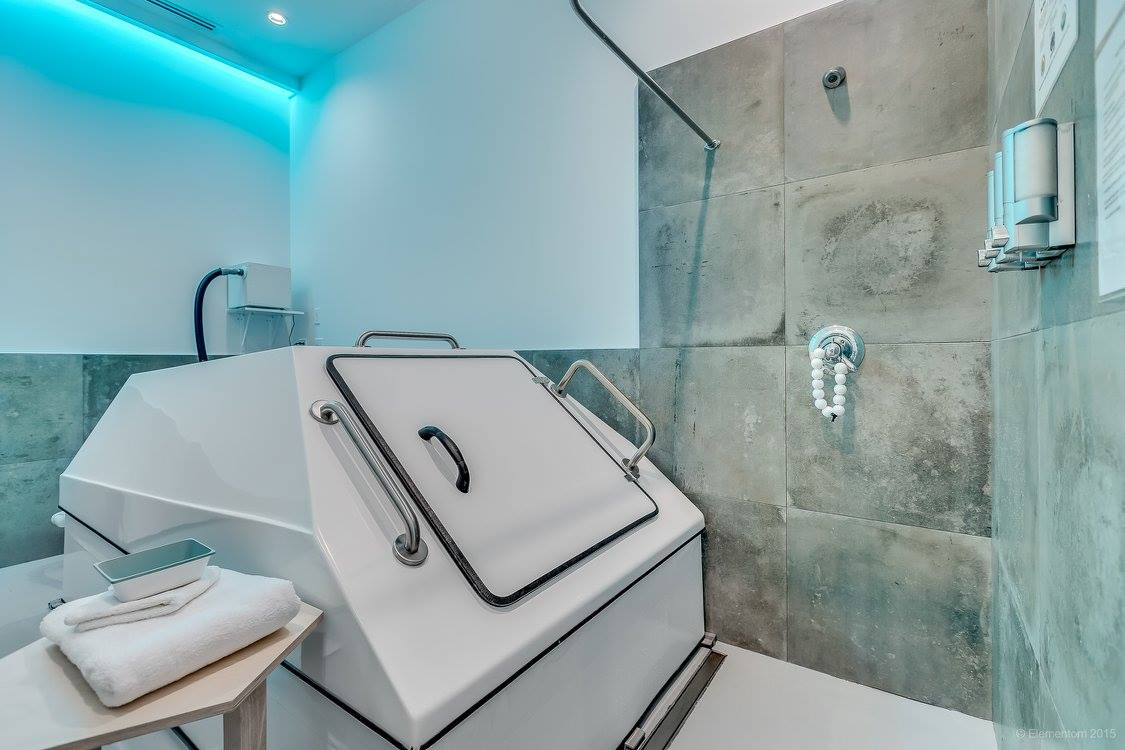 "We have 3 Oasis Float Tanks available. They are a more traditional form of sensory deprivation tank in their design and style. Are best suited for the experience floater or the less inhibited / more adventurous first-timer. Simple, effective, consistent that deliver a very womb-like experience. Audio accompaniment is possible. Can float those who are 6'3"" tall very comfortably."