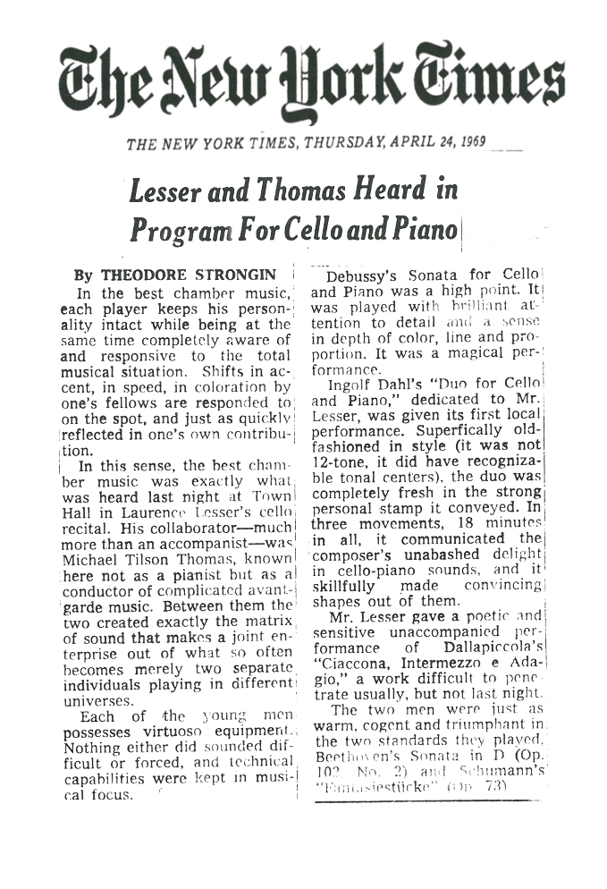 """LESSER AND THOMAS HEARD IN PROGRAM FOR CELLO AND PIANO"" NEW YORK TIMES, 1969"