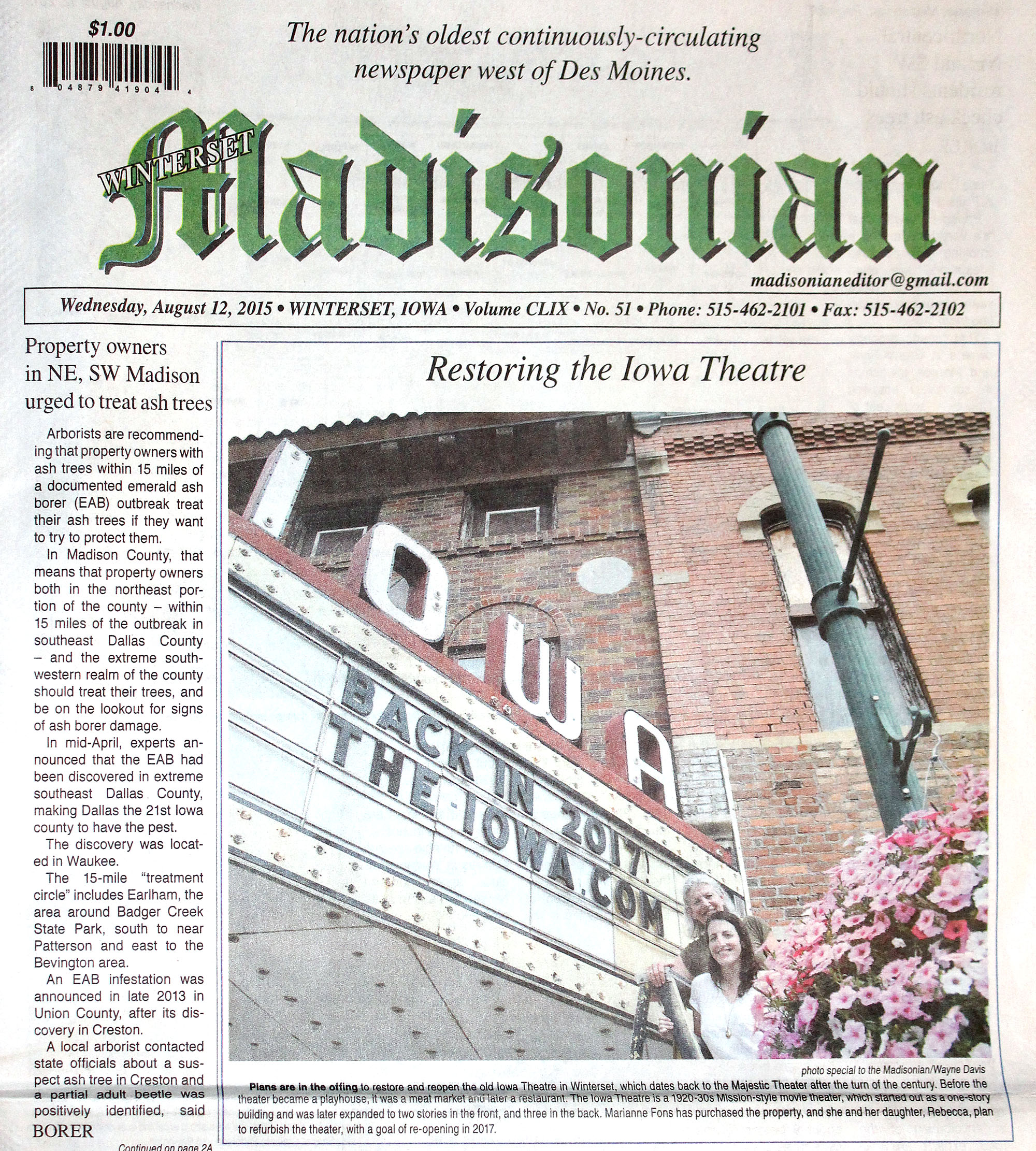 August 2015 cover of The Madisonian, announcing the planned renovation of The Iowa Theater.