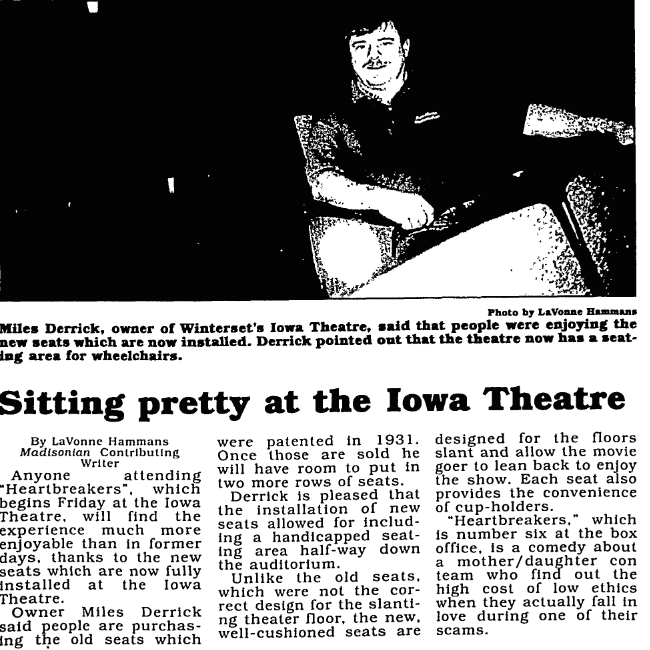 April 2001 Madisonian article announcing the installation of new seats. The 2001 seats will again be used when The Iowa reopens in 2017. Kudos to the previous management and patrons for taking such good care of these seats!