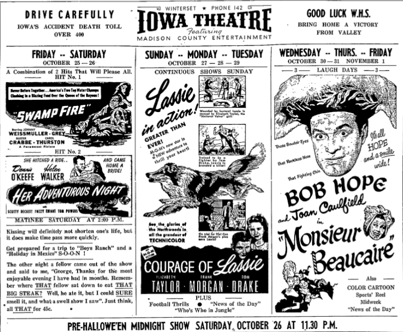 October 1946 programming advertisement in the Madisonian.