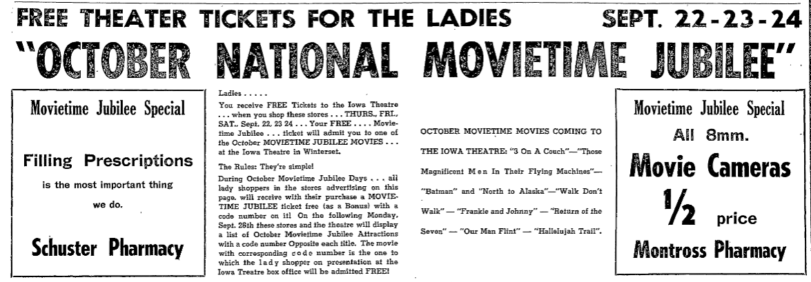 "1966 promotion in The Madisonian for the ""October National Movietime Jubilee"", offering free tickets to ladies-only who shop at Montross or Schuster Pharmacy."