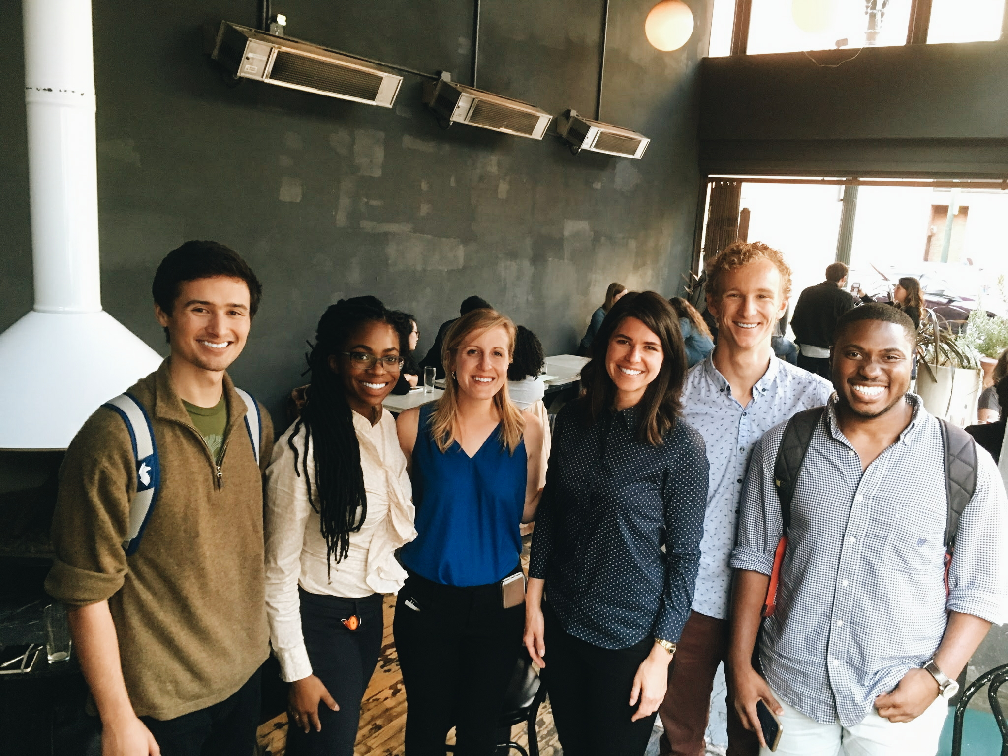 Pictured L-R: Cole Stites-Clayton (Solstice CTO), Ugwem Eneyo (Solstice CEO), Emily Fritze (Powerhouse Director of Marketing and Business Development), Emily Kirsch (Powerhouse Co-Founder & CEO), Tyler Davis (Solstice Software Engineer), Richard Mantey (Solstice Data Scientist Intern)