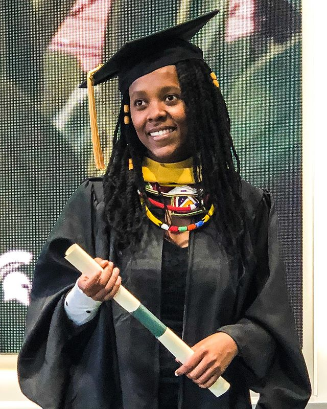 Shoutout to our Research Director Nokwanda Ndlovu Grava who is beginning her PhD in Counseling Psychology at Purdue University this week!  Nokwanda is shown here receiving her Master of Science in Childhood Development from Michigan State University last May. . . . . Nokwanda's research is an essential part of our work, as it helps us tap into community insights and design more culturally aware and effective interventions. This is a cornerstone of our mission and essential to producing culturally-informed, research-backed community work that is more effective and respectful to local cultures. More information available at https://www.intsikelelo.org/updates#research . . . . .  #firstgenerationgraduate #inspiringwomen #counselingpsychology #childhooddevelopment #phdstudent #phdjourney #decolonize #researchmethods #meetsouthafrica #beautifulnews #southafrican #zulunation #zulu #zulubeads
