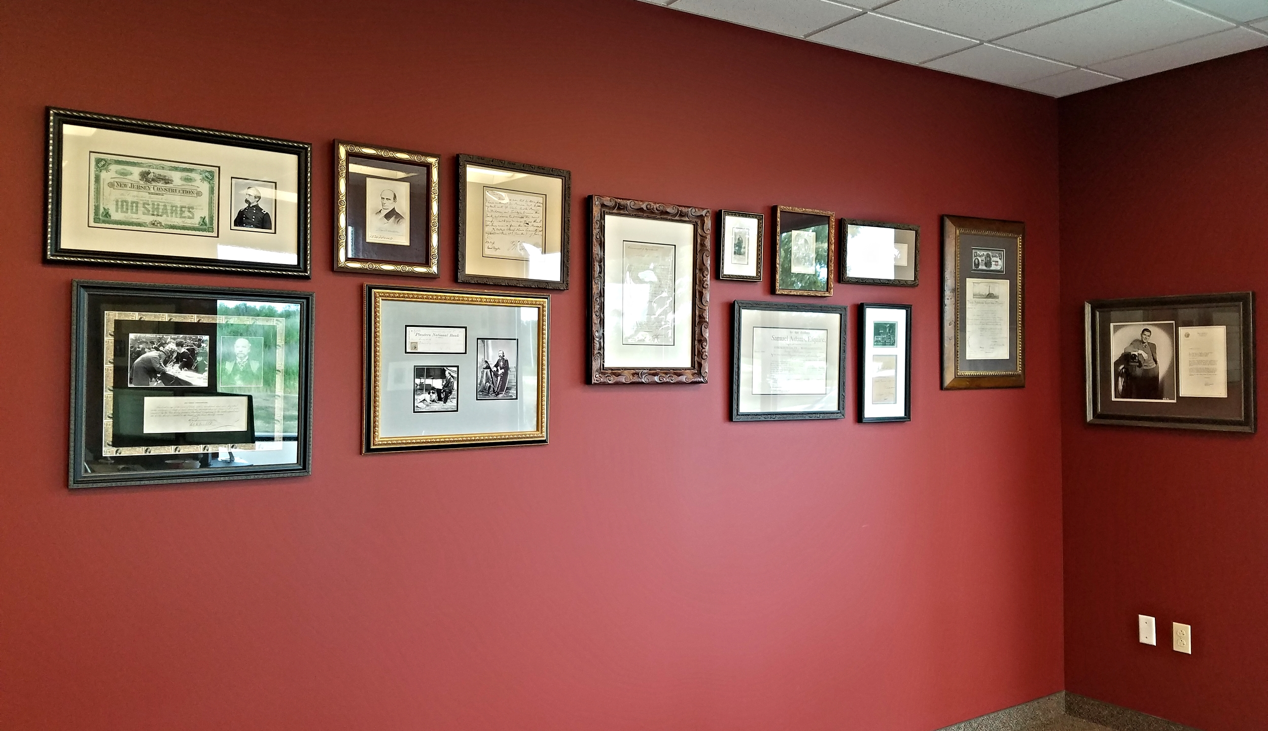 Wall of historical documents & photos
