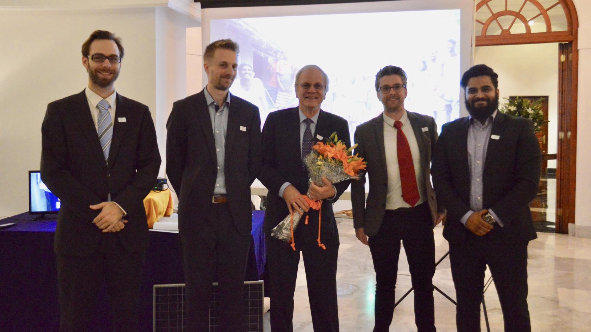 Rob, Evan, Mr. Ambassador Alphonso Stoelinga, Harmen and Prarabdh after launching the kit and sharing the vision of Rural Spark.
